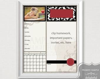 16x20 Red Damask Child Message Center, Homework Board, Digital Dry Erase, Organizer, Digital File, Instant Download, You Print, You Frame