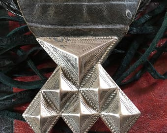 Tuareg Silver Amulet Khomeissa or Khomissar on Leather, incl. Leather Necklace