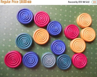 40% OFF NOW Set of 15 Multicolor Wooden Game Piece Discs, Vintage Wooden Game Pieces, Vintage Supply, Grooved Wooden Discs, Vintage Game Tok