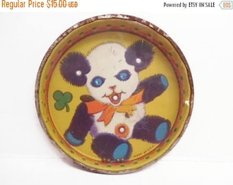 40% OFF NOW Lithographed Tin Rolling Ball Toy, Vintage Puzzle Toy, Panda Bear, Solitaire Puzzle Game, Yellow Tin, Rustic Toy, Collectible To
