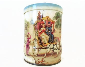 40% OFF NOW Riley's Toffee Tin, Vintage Candy Tin, Lithographed Candy Tin, Biscuit Tin, Tea Caddy, Victorian Scenes Tin, Collectible Tin, Ca