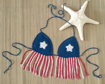 Lined Bikini Top Beachwear String Bikini Boho Gypsi Top Summer Wear Puerto Rico Flag Tropical Teen Girl Gift Model