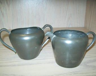 Genuine Pewter Creamer &  Open Sugar Bowl 1960
