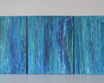 MADE TO ORDER: Multi Panel Abstract Earthy Zen blue teal copper sea green by MyImaginationIsYours