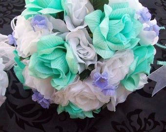 Mint Green and Lavendar Bridal Bouquets - Mint Green Bouquets - Lavendar Bouquets - Silk Wedding Packages - Boutonnieres - Lavnedar Corsages