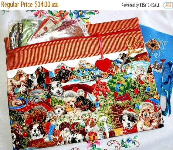 SALE Christmas Puppies Under the Tree Cross Stitch, Sewing, Embroidery Project Bag