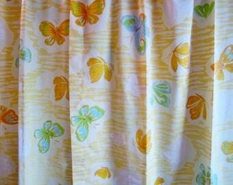 Vintage Curtains SEMI SHEER Panels YELLOW Butterflies 1970s