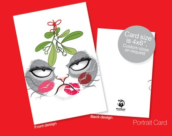 Printable CHRISTMAS Card, Seasons Greetings, Grumpy Cat, Christmas Greetings, Instant download, Cat, Kitty, Kiss, Mistletoe, Christmas