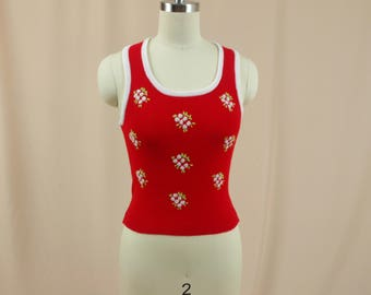 Fully Fashioned 70s White and Red Sweater Vest * Knit Pull Over Sweater Vest * Razorback Sweater Vest * Cropped Sweater Vest *70s  Red Vest