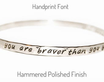 Delicate sterling silver bangle - two sided or inside message, personalized jewelry, secret message, silver message jewelry, gift for her