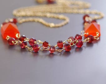 Garnet and Carnelian Double Strand Necklace. Red and Orange Gemstone Necklace by Agusha. Delicate Necklace
