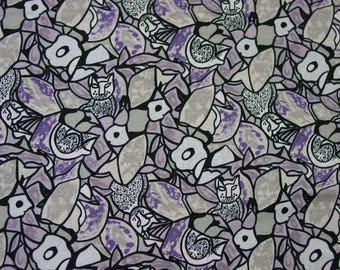 Vintage Cotton Fabric by Mary Ellen Hopkins Great Purple & Grey Print with Cats 1 Yard 30""