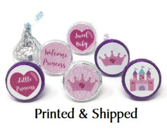 324 Princess Baby Shower Stickers for Candy Kiss® - Pink Princess Labels for Chocolate Kisses for Party Favors with Castle, Crown and Heart