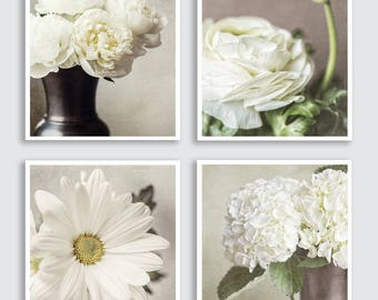 Shabby Chic Home Decor, Shabby Flower Prints Set or Flower Canvas Art, Beige Cream Ivory, Flower Pictures of Flowers, Cottage Chic Wall Art.