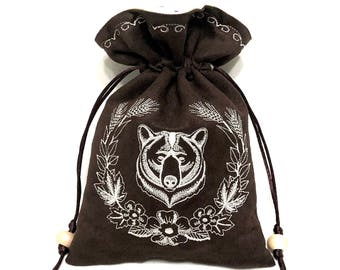 WOODSY BRUIN - Embroidered Drawstring Dice Bag, Rune Pouch, Tarot Card Bag made of faux suede - LARP Costume Accessory
