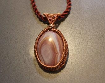 Woven copper Hickoryite pendant