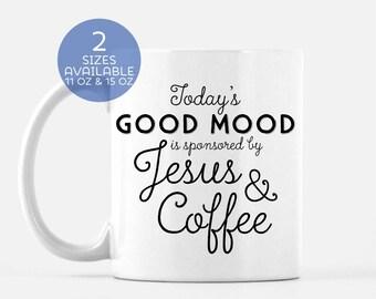 Coffee and Jesus Mug | Funny Christian Mug | Christ and Coffee | Religious Gift | Coffee Lover | Jesus Freak | Good Mood Mug