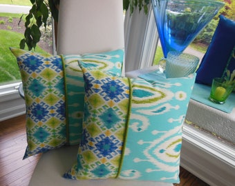 Outdoor Pillow - Ikat Pillow - Screened Porch Pillow - Turquoise Pillow - Aqua Pillow - Aztec Pillow - Kiwi Green Pillow - Patio Pillow