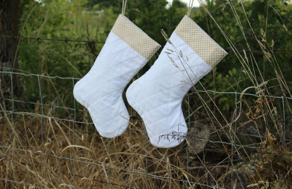 Handmade White Gold Quilted Christmas Stockings