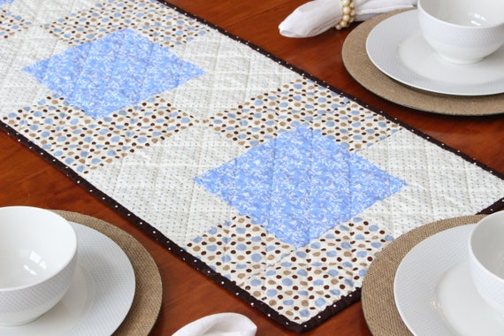 Blue White Quilted Farmhouse Table Runner
