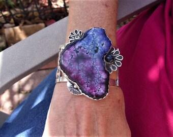 R146--Multi Color Solar Quartz and Sterling Silver Cuff-- Gemstone, Vintage Style