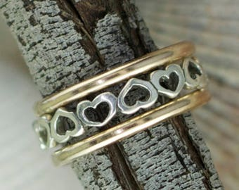 Sweet Heart -Sized - Stack of Three Rings - Thumb - Finger - Gold Filled - Sterling Silver