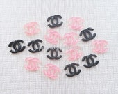 6pcs - Clear Kitschy Logo Mix Decoden Cabochon (21x16mm) CHL008