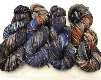 Flash Sale! Oscar Worsted , Hand Dyed Yarn, Superwash merino, worsted weight, multicolored yarn, Steakout With Charlie