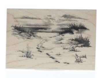 Inkadinkado Nature Footprints in the Sand Beach Walk Wooden Rubber Stamp