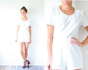 30% OFF SALE Vintage white mini romper // simple short romper // white textured romper dress // textured print mini dress // jumper romper s