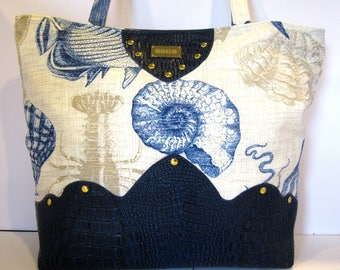 navy blue handbag faux leather nautical purse pocketbook tote bag