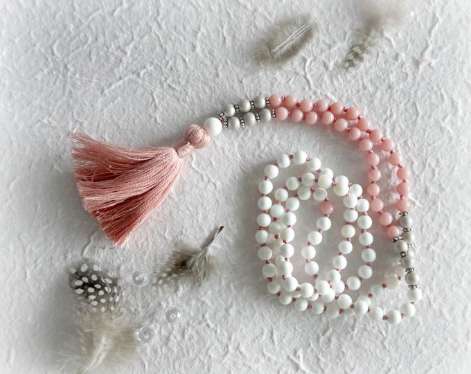 white, pale pink and soft grey tassel necklace with cotton tassel, white jade gemstone beads, grey glass pearls and silver accents, mala