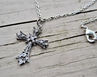 """CHRISTIAN CROSS NECKLACE 18"""" long Silver Metal Cross with Rhinestones"""