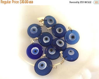 SUMMER SALE Destash Craft Lot of Vintage Blue Glass Evil Eye  Pendants
