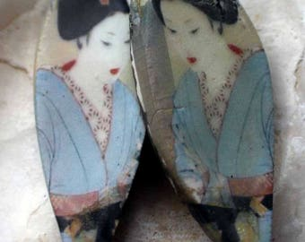 Ceramic Decal Shimura Earring Charms#3