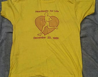 1986 Heartbeats For Life vintage t shirt large Screen Stars label VTG