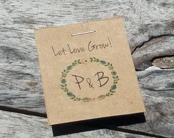 RUSTIC Little Favors Monogram Initials Floral Wreath Design Wildflower Seeds Let Love Grow Flower Seed Packet Favors Bridal Shower Wedding