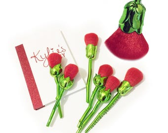 FREE SHIPPING  Beauty and the Beast Inspired Enchanted Rose Makeup Brushes Powder brush set