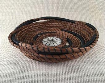 Donut Stone Twist pine needle basket