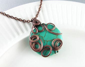 Wire Wrap Jewelry Copper Necklace Turquoise Necklace Wire Wrap Pendant Copper Wire Wrap Turquoise Jewelry Boho Necklace