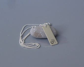 Personalized initial necklace for guys, Men stamped pendant necklace, Custom Silver vertical bar necklace,  Mens jewelry