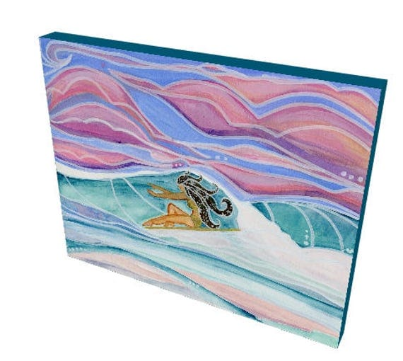 16x20 Canvas Print of a Cosmic Makala Magical Sunset Surf Session by Lauren Tannehill ART