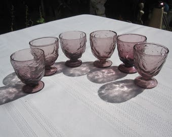 6 Vintage Purple Pattern Footed Shot Glasses Made In Italy