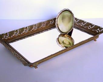 Vintage Vanity Tray, Large Mirror Tray, Gold Dresser Tray, Ornate Perfume Tray, Hollywood Regency Boudoir