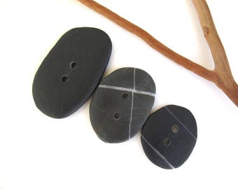 Stone Buttons Mediterranean River Rock Pebble Organic Knitting Sewing Craft Supplies Findings Large DARK BUTTONS 32-48 mm