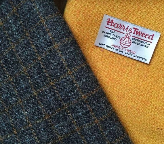 Large piece of vintage grey plaid tweed and toning piece of yellow handwovern Harris Tweed