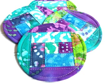 Quilted Coaster Set,  Batik Fabric Coasters, Cool Colors, Mug Rugs