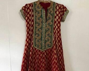 Vintage ethnic bohemian indian sequin sparkle tunic dress