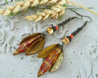 3 leaves recycled Grolsch brown tin bear cap earrings