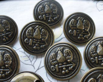 """Eagle & Anchor Antique Bronze buttons 23MM Hollow Metal Shank size 36L 7/8"""" blazer coat crafts fashion coat of arms military 6 buttons"""